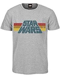 Close Up Star Wars T-Shirt mit Vintage Logo 1977, in S, M, L, XL, Grau Bedruckt Aus Baumwolle