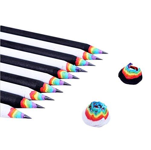 Yalulu 10 Stück Regenbogen Entwurf Schreiben Malen Zeichnen Hochwertiges Schreiben Bleistift-Set