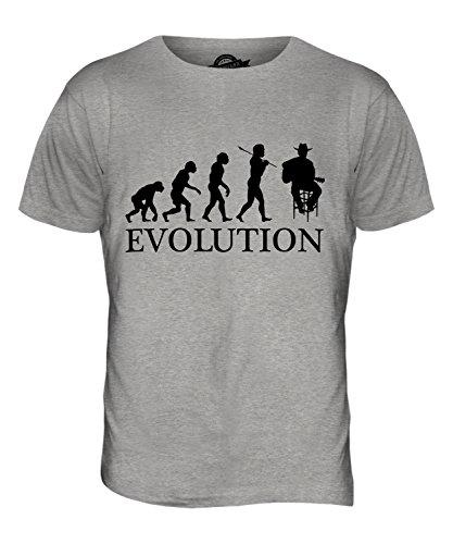 CandyMix Country-Musik Sänger Evolution Des Menschen Herren T Shirt Grau Meliert