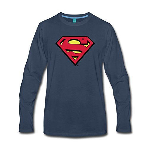 Mann Kent Of Kostüm Clark Steel - Spreadshirt DC Comics Superman Logo Original Männer Premium Langarmshirt, 5XL, Navy