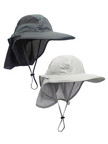 WANYING 2 Stücke Unisex UV Schutz Sonnenhut mit Nackenschutz 12cm Großer Brim Outdoor Aktivitäten - für Kopfumfang 56-62cm Hellgrau & Dunkelgrau - Erwachsenen Safari Hüte