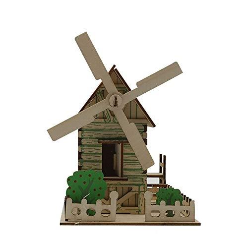 DingLong 3D Puzzle Holzhäuser - Rustikales Häuschen, Architektur Modellbausatz zum Bauen für Spaß, Kind/Kinder Früh Lernen Spielzeug, Montage Holz Spielzeug für Junge Mädchen