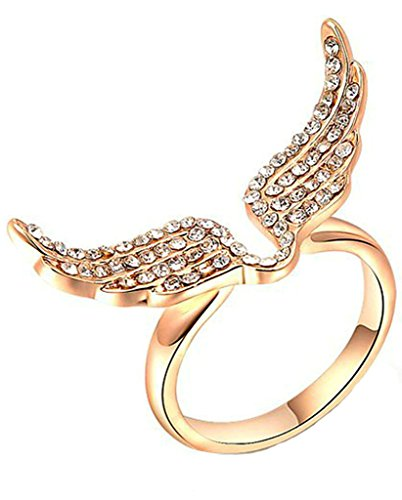 Gnzoe Gioielli, Placcato Oro Rosa Anelli Anello di Nozze Angelo Ala Anello di Promessa Anello di Nozze Per Donna