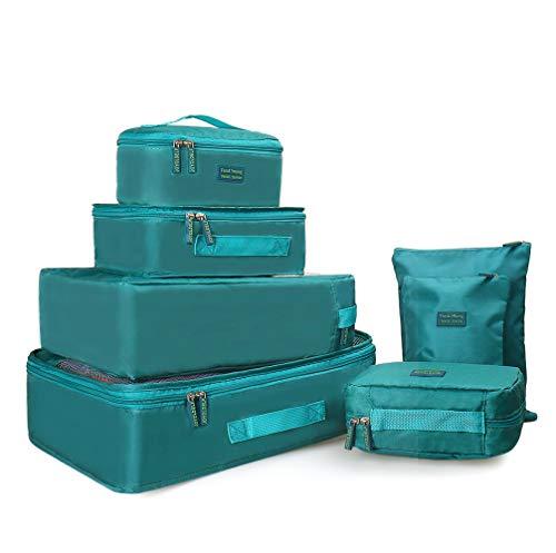 Joyoldelf 7 Stück Kleidertaschen Kofferorganizer Packtaschen mit Wäschebeutel,Handgepäck und Seesäcke (Blau)