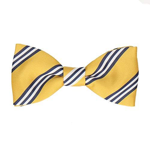 Mrs Bow Tie Bravo Stripes Fliege, Fertig gebundene - Gelb & Navy Blau Stripe Bow Tie