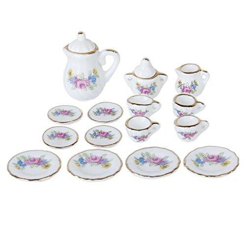 TOOGOO(R) 15 pcs Maison de poupee Miniature Salle Arts de la Table a The en Porcelaine Plat Vaisselle Tasse w / Motif de Fleur