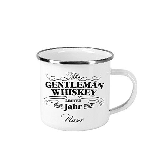 Herz & Heim Vintage Emaille Whisky Tasse - Gentleman Whiskey Design - mit Wunschnamen und...