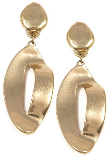 Happiness Boutique Damas Pendientes Largos con Clip en Color Dorado |