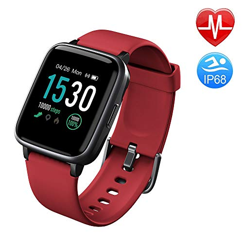 Duang Smartwatch, Bluetooth Fitnessuhr Damen Fitness Tracker Herren, 1,3-Zoll-Farbbildschirm Sportuhr mit Schrittzähler Pulsmesser Schwimmen wasserdicht IP68, iOS Smartwatch Android-Handy (Red)