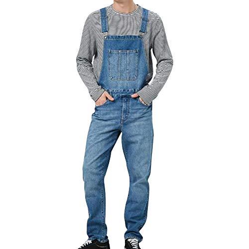 Heflashor Herren Jeans Latzhose Loch Ripped Washed Jumpsuit Overalls Denim Lange Hose Skinny Fit