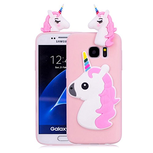 Samsung Galaxy S7 carcasa, Rosa coral Unicorn Lindo resistente a prueba de...