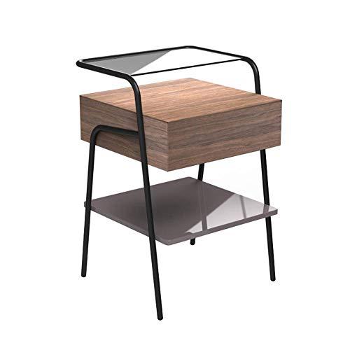Tables FEI - Bureau d'ordinateur d'appoint Vintage, tiroir de d'extrémité, pour Petits espaces, Meubles d'appoint d'aspect Bois avec Cadre en métal pour Tous Les postes de Travail