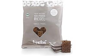 Energieriegel: Lycka Mini Power Riegel Vanille Mandel (96 Riegel á 10g), vegane Snacks, natürliche Süßigkeit