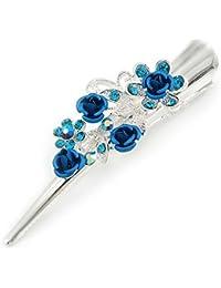 Tamaño mediano azul cristal, rosa Floral Pelo pico Clip/Concord/Alligator Clip en tono plata–75mm L