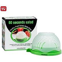 Large Perfect Salad Cutter Bowl – 57 Second Salad Maker - Safely Chop Vegetables & Fruit Fast - Free Salad Recipes – Wash, Slice, & Serve – Veggie Slicer Kitchen Gadget –- 60 Seconds