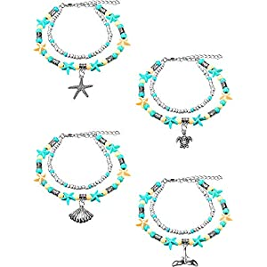 4 Stücke Boho Starfish Turtle Fußkettchen Multilayer Charm Perlen Meer Handgemachte Fußkettchen Fuß Schmuck für Damen Mädchen