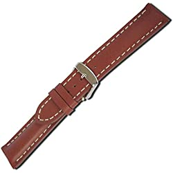 Herzog Swiss Chrono I watch strap calf Leather band Cognac Anstoss 18 mm