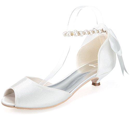 Elobaby Damen Hochzeitsschuhe Pearl Ribbon Peep Toe Brautkleid Kleid Flache Schuhe Low/Satin Größe Party, Ivory, 42 - Pearl-kleid
