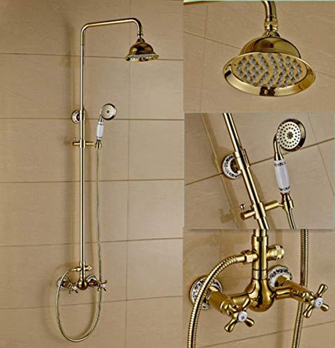 l Retro Gold alle Bronze Badezimmer Regen Mixer Dusche Combo Set Wand regen Duschkopf System Badewanne Armatur Dusche ()