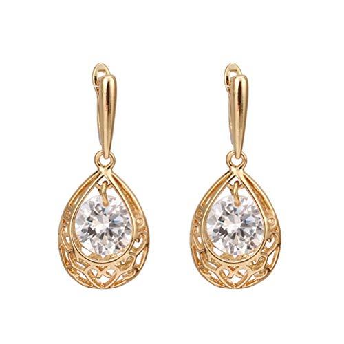 Pair of Women's Girls Drop Style Zircon Eardrop Earrings Ear Studs (White)