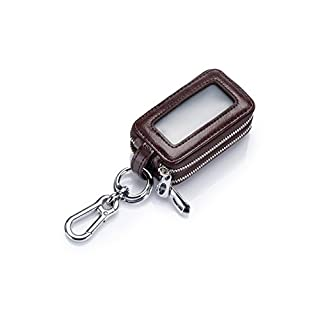 Artbisons Car Keychain Smart Keycase Genuine Leather Keyring Hook Remote Key Case Key Pouch Double Layer with Zipper Coffee