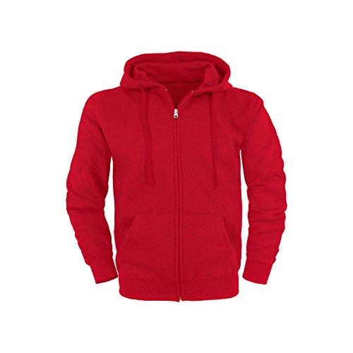 Basic Felpa con cappuccio Cerniera lampo Hoodie / taglie S / colori rosso
