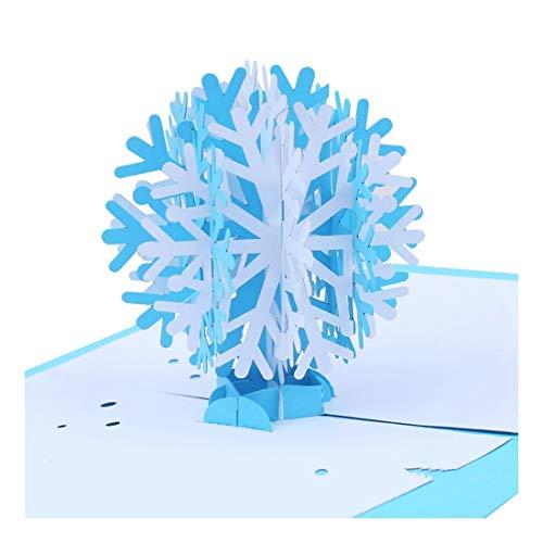 ZHOUBIN 2 fogli/set Carving and Hollowing Out 3D Cards/Greeting Cards/Regali di Natale Capodanno/Auguri di compleanno/Fiocchi di neve di Natale
