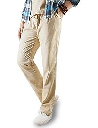 Largos pantalones casuales de lino para hombre, con bolsillos y cintura con cordón