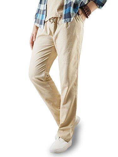 TAIPOVE Largos Pantalones Casuales de Lino para Hombre,con Bolsillos y Cintura con cordón,Beige,M,42-44