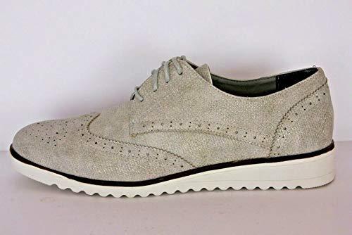 Anna Field Damen Schnürschuhe im Budapester Stil - Oxford Schuhe mit Metallic Finish - Feminine Brogues im Dandy Look - Flache, Elegante Schnürer