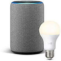 Echo Plus (2.ª generación), tela de color gris oscuro + Philips Hue White Bombilla LED E27