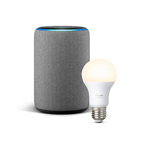 Echo Plus (2.ª generación), tela de color gris oscuro + Philips Hue...