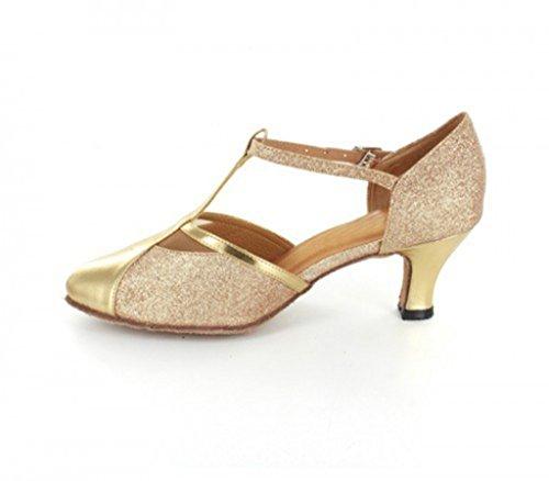 TDA ,  Damen Durchgängies Plateau Sandalen mit Keilabsatz 6cm Gold