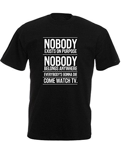 Come Watch TV, Mann Gedruckt T-Shirt - Schwarz/Weiß M = 96-101 cm
