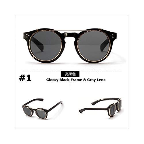 Sport-Sonnenbrillen, Vintage Sonnenbrillen, New Fashion Steampunk Style Lens Removable Sunglasses Clip On Vintage Round Brand Design Sun Glasses Oculos De Sol 4310 1 Glossy Black
