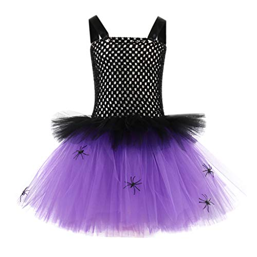 Kostüm Teenager Hexe - DOLLAYOU Kleid Bunt Kinder Halloween Spinne Tutu Mesh Kurz Kostüm Ohne ärmel Süß Mädchen Hexe Elegant Spitze Teenager 1-12 Jahre