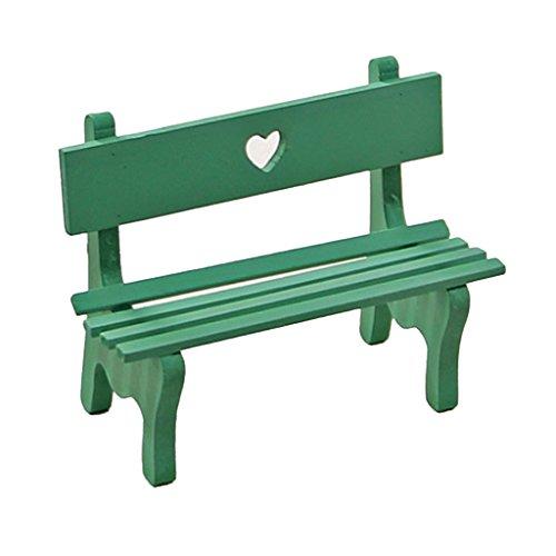 MagiDeal Miniatur Gartenstuhl Liegestuhl Holzstuhl Zubehör für Mini Puppenhaus - Grün