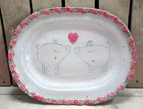 """Ovale Platte, Kuchenplatte, groß"""" Rendezvous mit Schwein"""""""