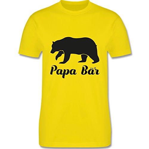Shirtracer Vatertag - Papa Bär - Herren T-Shirt Rundhals Lemon Gelb