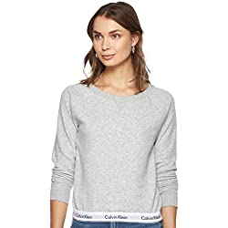 Calvin Klein Top Sweatshirt Long Sleeve T-Shirt À Manches Longues, Gris (Grey Heather 020), Unique (Taille Fabricant: Small) Femme