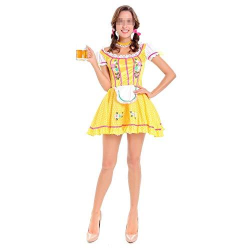 Karoun 4 Teile/Satz Fantastische Cosplay Deutsches Bier Mädchen Kostüme für Frauen Oktoberfest Sexy Dirndl Deguisement Halloween Maid Kostüme,Yellow,One - Deutsches Bier Mädchen Kostüm Frauen