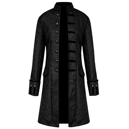 Volon Herren Punk Retro Mäntel Steampunk Langarm Jacke Mittellang Mantel Mittelalter Kostüm Cosplay Uniform für Männer (XL, Schwarz)