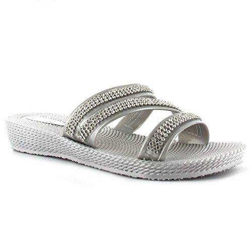 Pantofola Piatta Da Donna Di Ella Grace, Sandali Infradito Da Mula Flip Flop, Misura 3 ? (uk) Argento