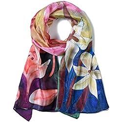 Invisible World Pañuelo Bufanda de 100% Seda Pintado a Mano - Coloridos Lirios de Día