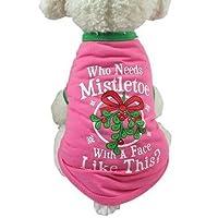Doggie Style Store Christmas Xmas T-Shirt Mistletoe Pink Dog Puppy Pet Cat Kitten Vest Top Shirt