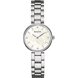 Bulova Ladies Women's Designer Diamond Watch Bracelet - Stainless Steel White Wrist Watch 96S159