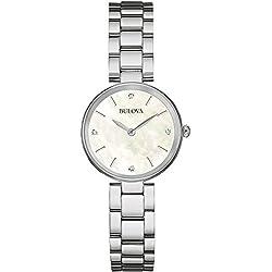 Bulova Ladies Women's Designer Diamond Watch Bracelet - Stainless Steel White Wrist Watch 96S159