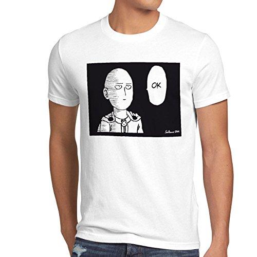CottonCloud Saitama OK Manga Herren T-Shirt One Punch OPM Weiß