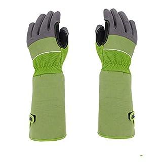 Heavy Duty Long Gardening Gloves, Artificial Leather Gauntlet Rose Pruning Gloves, Breathable Thorn Proof Garden Work Gloves For Men Women Gardener HCT01-C (Green)