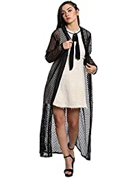The Silhouette Store Black Mesh Full Sleeve Maxi Shrug